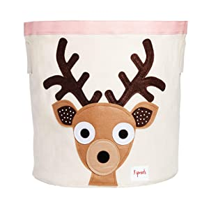 3 Sprouts Canvas Storage Bin - Laundry and Toy Basket for Baby and Kids, Deer