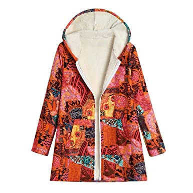 MEIbax Abrigo De Talla Grande Mujeres con Capucha De Manga Larga Invierno  Chaqueta Suéter Jersey Cardigan Tallas Grandes Outwear Floral Bolsillos de  ... 3a4de4d38d68