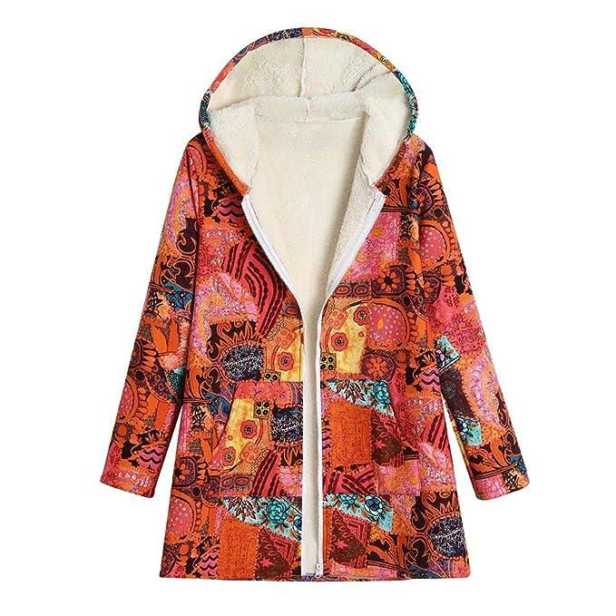 MEIbax Abrigo De Talla Grande Mujeres con Capucha De Manga Larga Invierno Chaqueta Suéter Jersey Cardigan Tallas Grandes Outwear Floral Bolsillos de ...