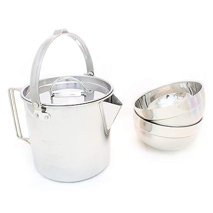 Amazon.com: Juego de ollas de acero inoxidable para acampada ...