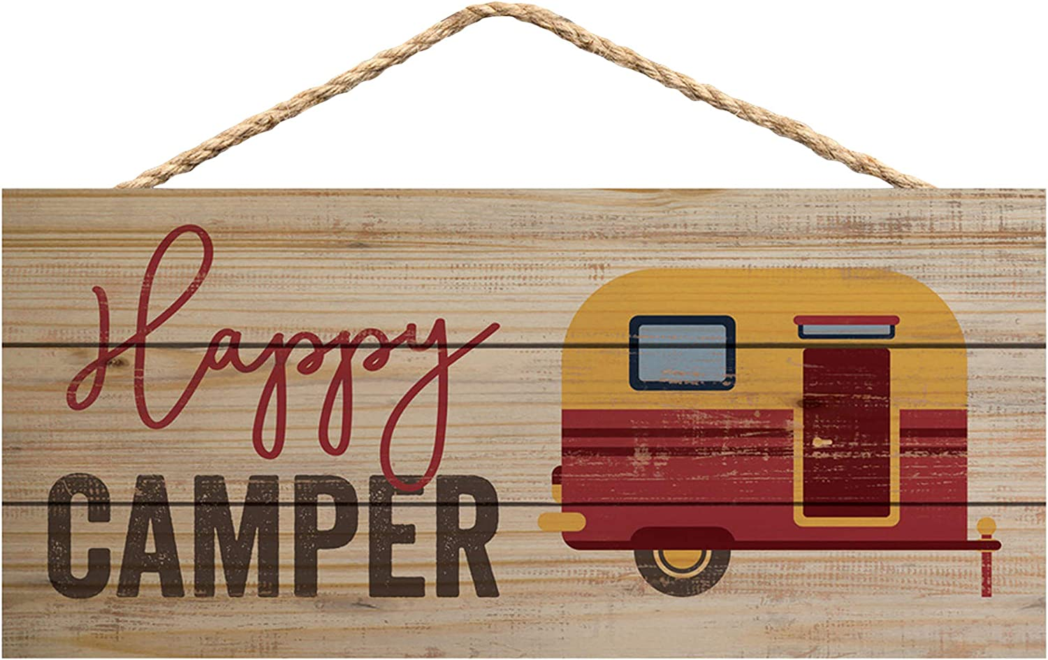 P. Graham Dunn Happy Camper Vintage Natural 10 x 4.5 Wood Wall Hanging Plaque Sign