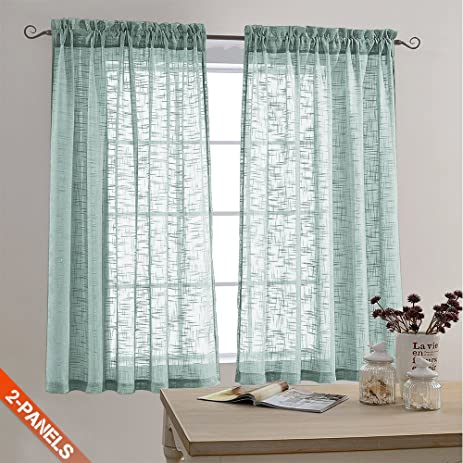 faux linen textured sheer curtains rod pocket drapes for bedroom living room window patio