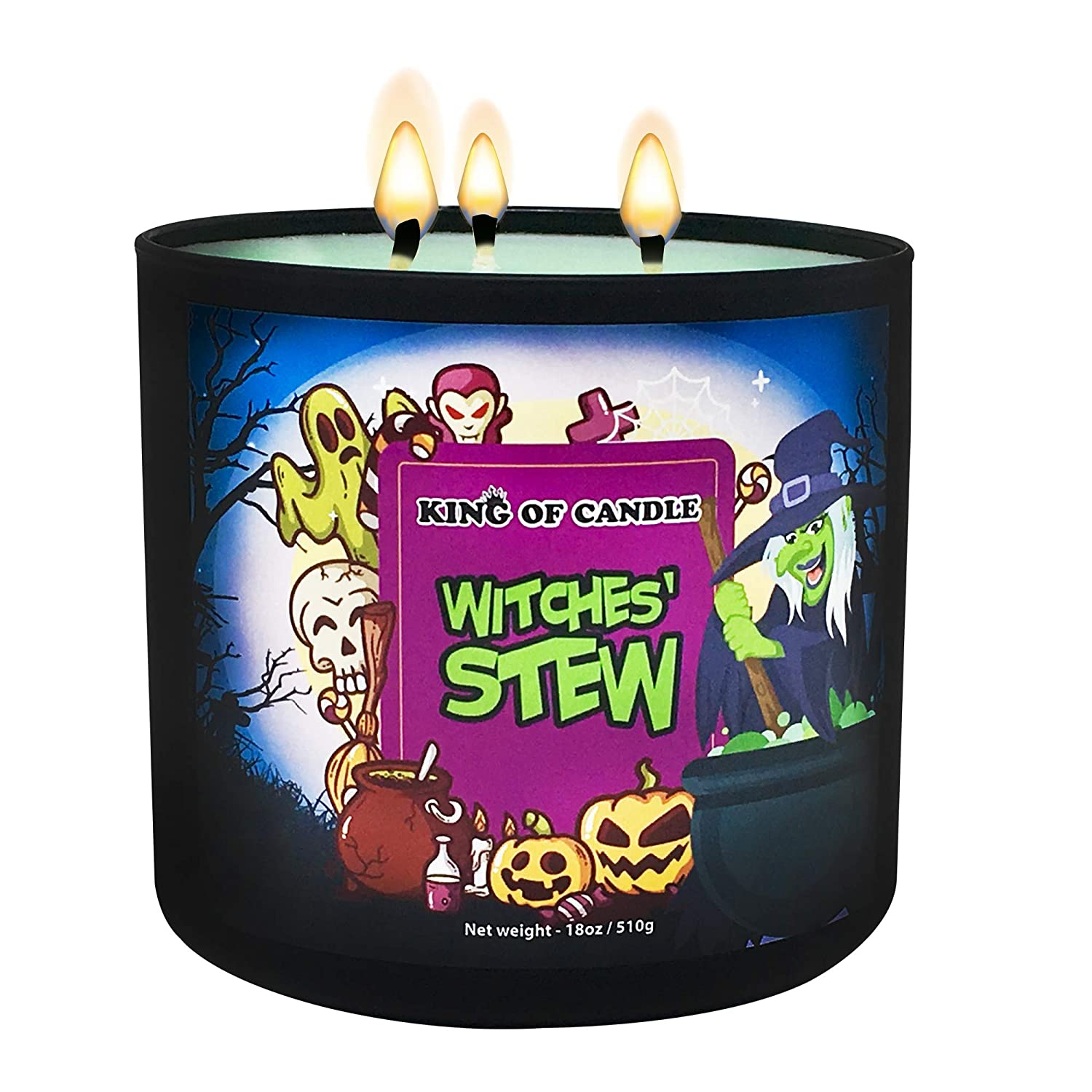Witches Stew Halloween Candle - Large 3-wick Soy Candle 18 Ounce - Triple Fragrance Oil Highly Scented Fall Candle