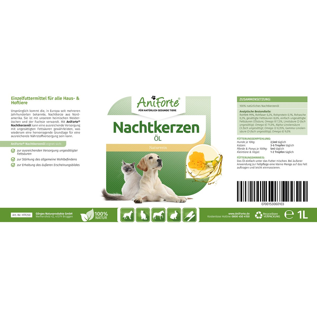Aceite de onagra de AniForte, 1 litro, producto natural para perros y caballos: Amazon.es: Productos para mascotas