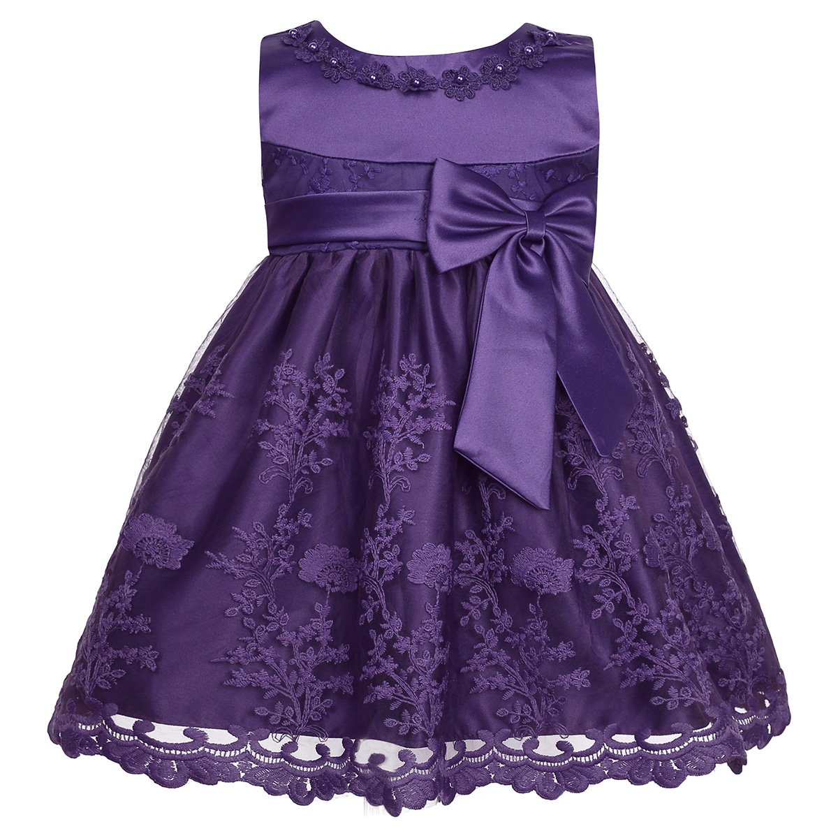 MSemis Baby Girls' Embroidered Christening Baptism Dress Infant Flower Girls Wedding Dresses Purple 18-24 Months