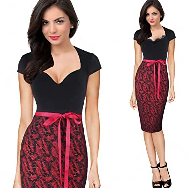 Womens Sexy Elegant Cap Sleeve Belted Vintage Retro Pinup Slim Tunic Casual Party Club Evening Bodycon