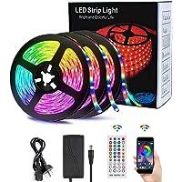 49.2FT/15M LED Strip Lights, Led Lights Strip Music Sync SMD 5050 LED Rope Light, App&Remote Controlled, Tape Light for Bedroom, Home and Kitchen