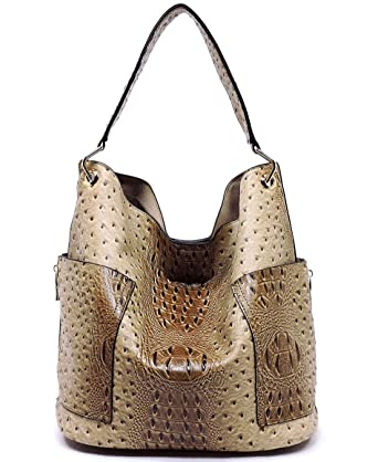 702fc2bed7 Amazon.com: Handbag Republic Ostrich Embossed Side Pockets Tote w/Inner Bag  Crossbody - Taupe: Clothing