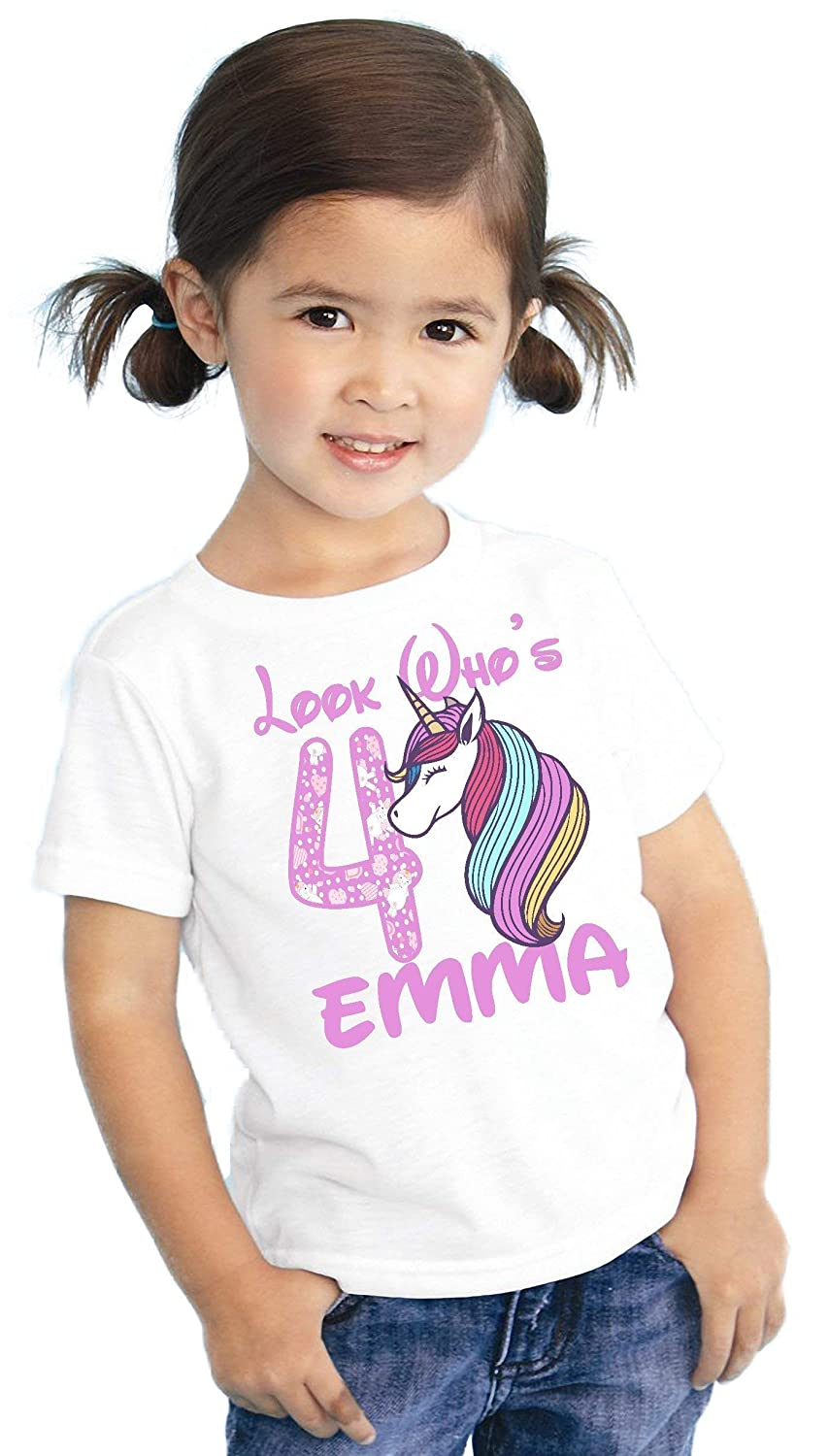Look Whos Girls Kids Youth Unicorn Rainbow Mane Personalized Birthday T Shirt TEE Custom NAME AGE Cute Magic Gift Ideas