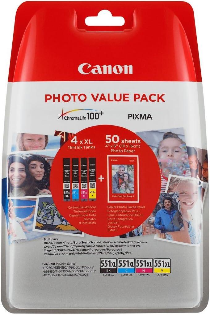 Canon CLI-551XL 4 Cartuchos Multipack original Negro/Cian/Magenta/Amarillo Xl Impresora Inyeccion tinta Pixma MX725-MX925-MG5450-MG5550-MG5650-MG6350-MG6450-MG6650-MG7150-MG7550-iP7250-iP8750-iX6850