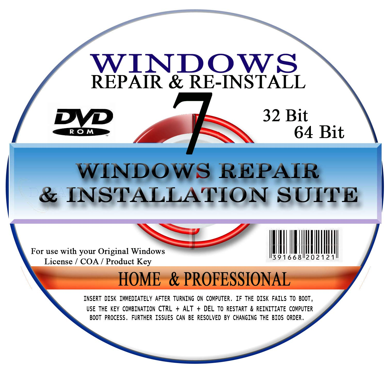WINDOWS 7 - 64 Bit DVD SP1, Supports Home Premium  Recover, Repair, Restore  or Re-install Windows to Factory Fresh!