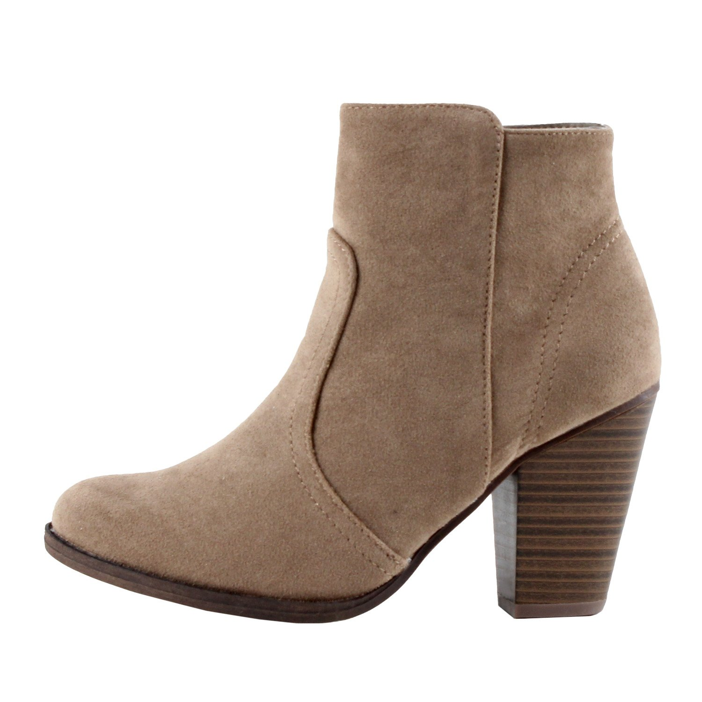 ee076ed92106c Galleon - Breckelles Women's HEATHER-34 Faux Suede Chunky Heel Ankle Booties  Beige Suede 10