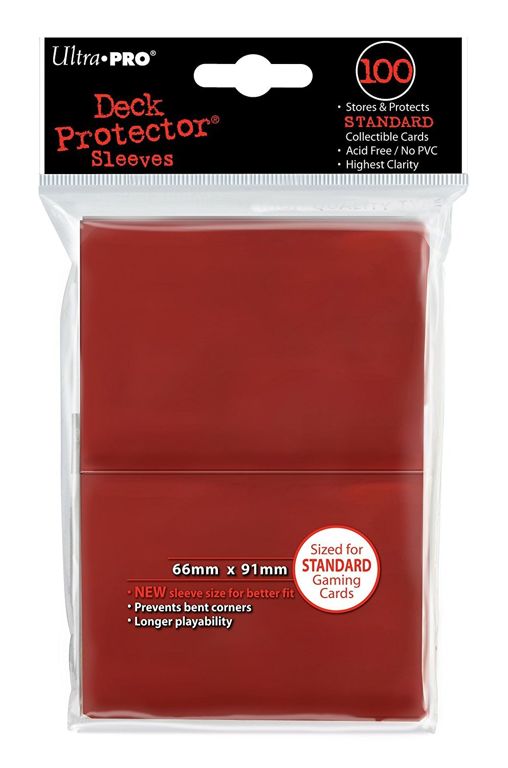 Ultra Pro Deck Protector, Standard, Red, 100 Count