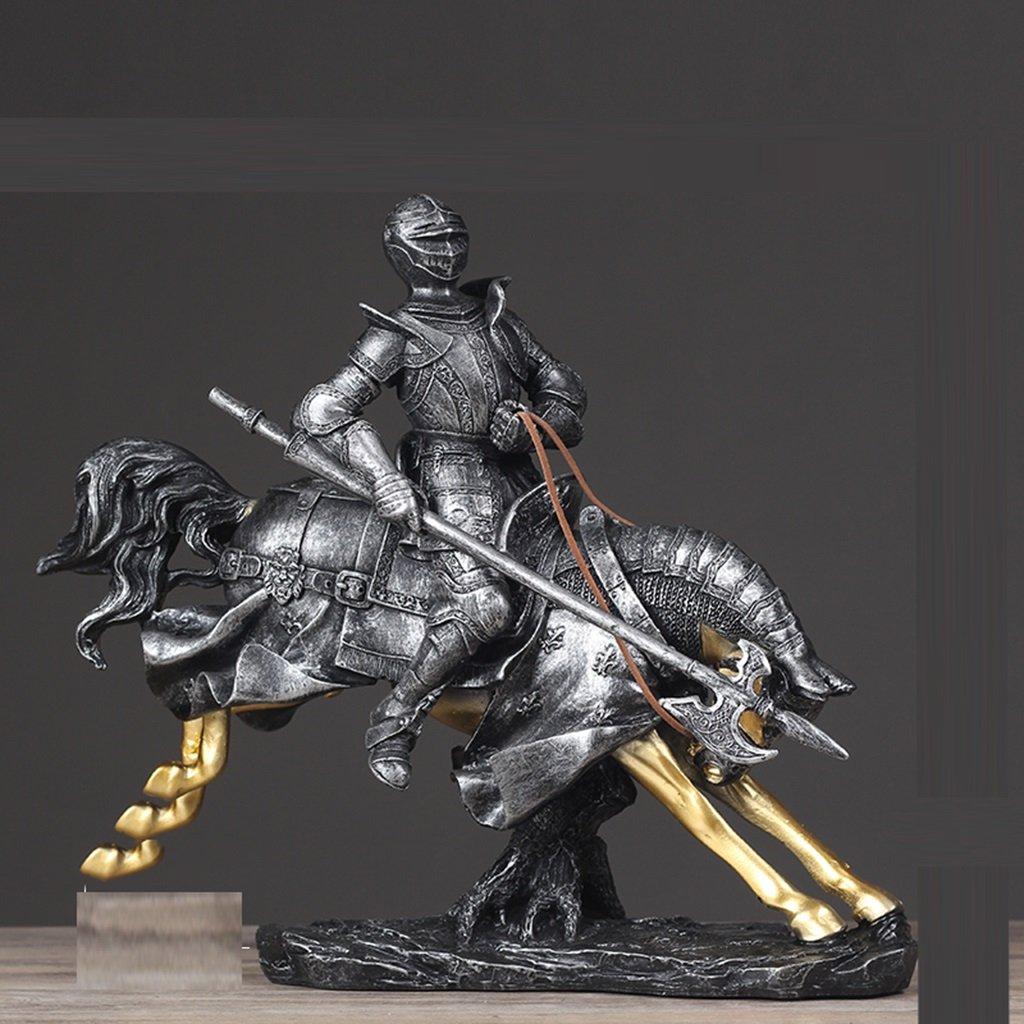 装飾材料 レジンヨーロッパのレトロライディング武士の研究の装飾35 * 15 * 31cm / 15 * 6 * 12インチ   B07JZ9YNWD
