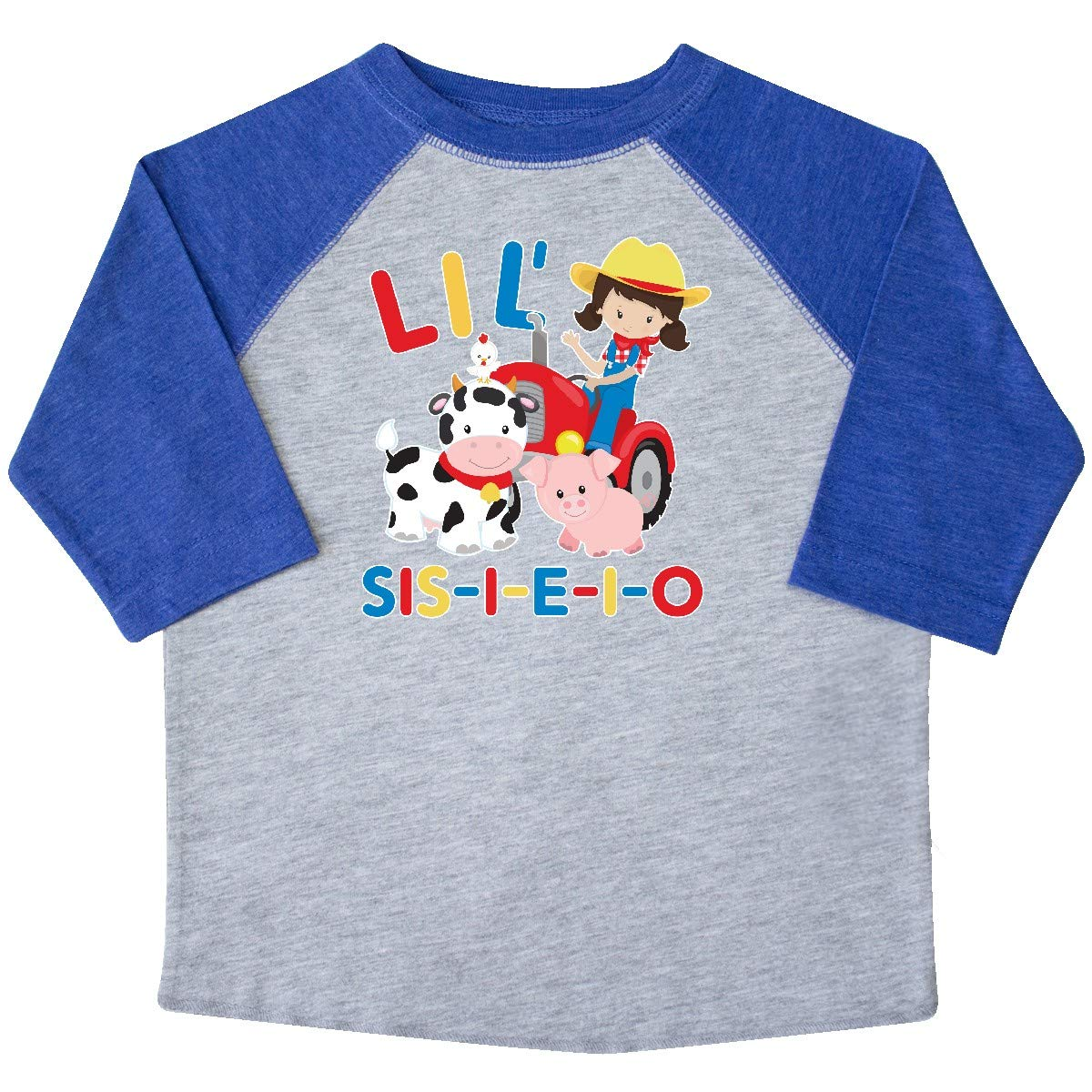 inktastic Farmer Tractor EIEIO Little Sis Toddler T-Shirt