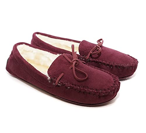 96321c0e18e Charles Albert Women s Auzy Fuax Fur Winter Moccasins Slippers (Burgundy
