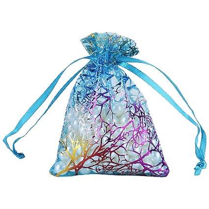 FTVOGUE Organza Bolsas 50 Pieza Transparente Cordón Organza Bolsa Organza Coral bolsitas Organza Bags Boda Fiesta en Bolsa ftalatos Bolsa Candy Bags ...