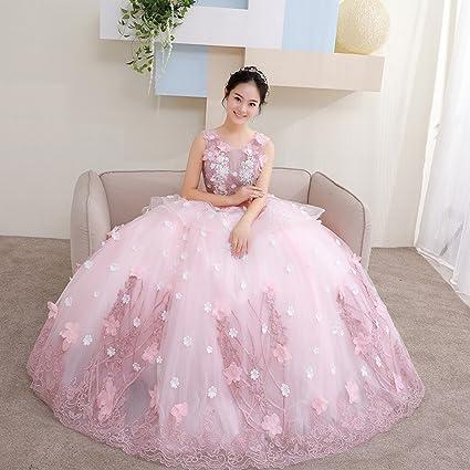 DHG Fantasía Color Flores Nupcial Vestido de Novia Largo de la Manera Delgado Vestido Atractivo del