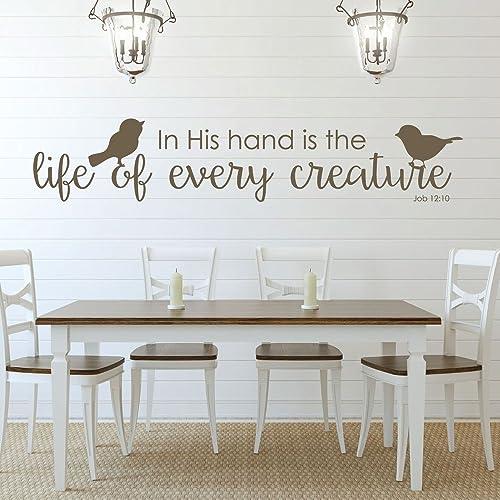 Amazon.com: Bible Verse Wall Art - Job 12:10 Wall Decal - In His ...