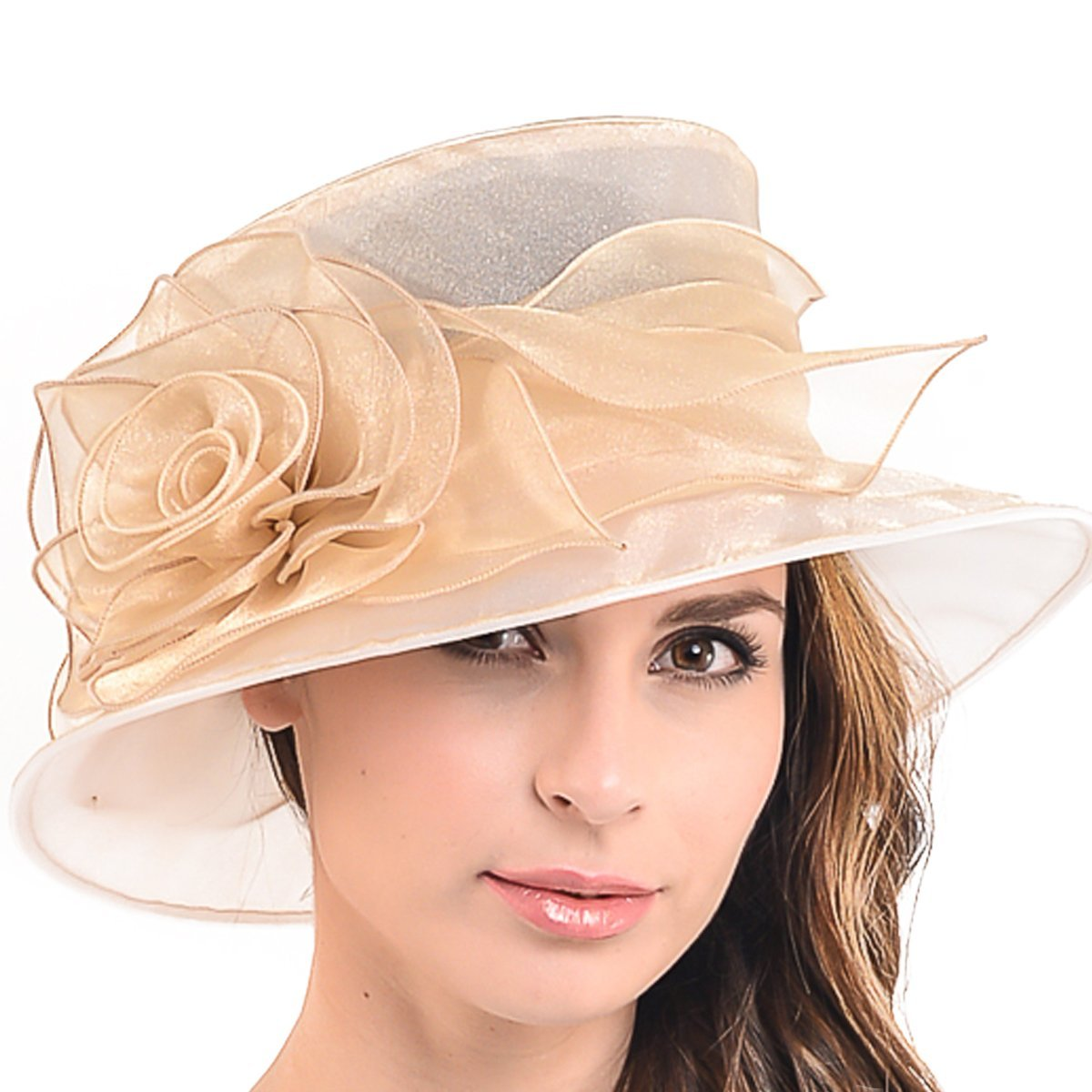 Women Floral Wedding Dress Tea Party Derby Racing Hat S065