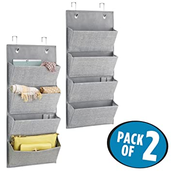 Hängeregal stoff amazon  Amazon.com: mDesign Over-Door Fabric Closet Storage Organizer for ...