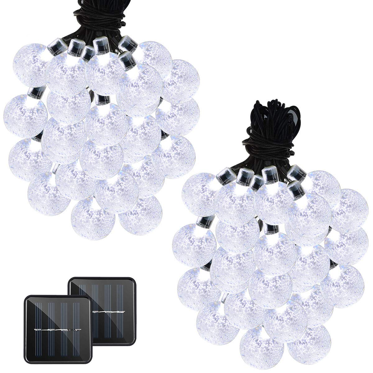 VMANOO Christmas Solar Powered Globe Lights,30 LED (19.7ft) Globe Ball Fairy String Light for Outdoor, Xmas Tree, Garden, Patio, Home, Lawn, Holiday, Wedding Decor, Party 2 Pack (White)