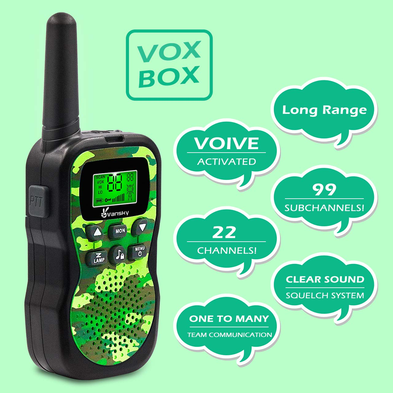 Vansky Walkie Talkies for Kids, Kids Toys 4 5 6 7 8 Age Boy Girl Long Range 22 Channel Built-in Flashlight 2 Way Radio Best Gifts Games, Outdoor Adventure, Camping, Hiking (Camo Green) by Vansky (Image #2)