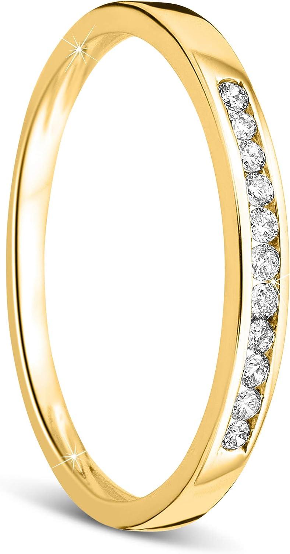 Orovi anillo de mujer compromiso/aniversario 0.10 Quilates diamantes en oro amarillo 9 kilates ley 375