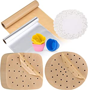 Cooking Gift Package Unbleached 366Pcs 9In 100PCS Air Fryer Liners 9In 100PCS Bamboo Steamer Liners 75Sqft Aluninium Foil 75Sqft Parchment Paper 8in 140Pcs Lace Doilies Paper 24Pcs Muffin Cups