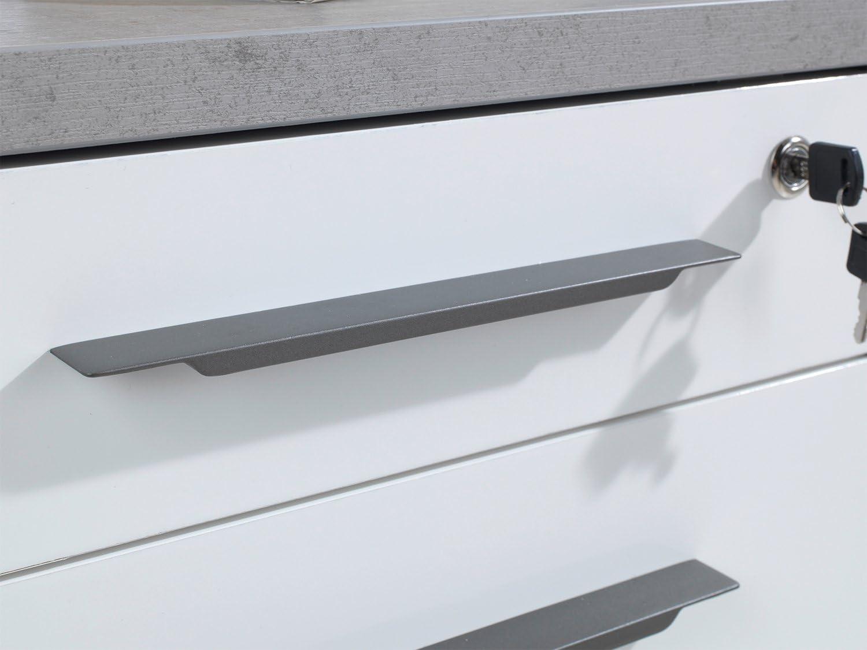 Abschlie/ßbar Grau 3 Schubladen Wei/ß Hochglanz Rollcontainer Schubladenschrank