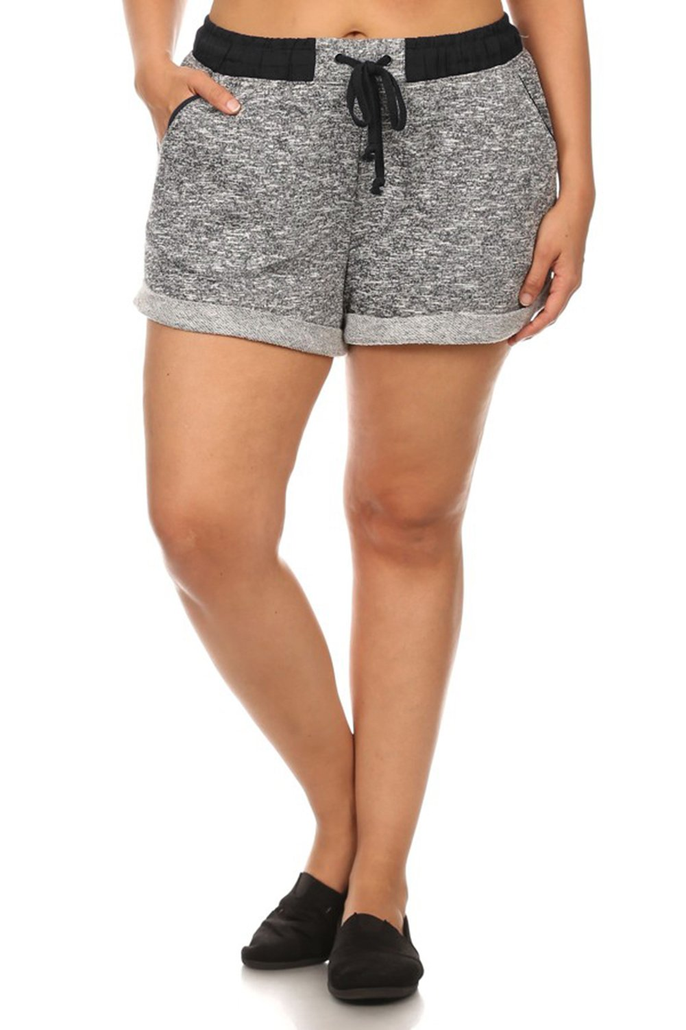 Vialumi Women's Junior Plus Elastic Drawstring Waist Cuffed Shorts Grey Black 1X