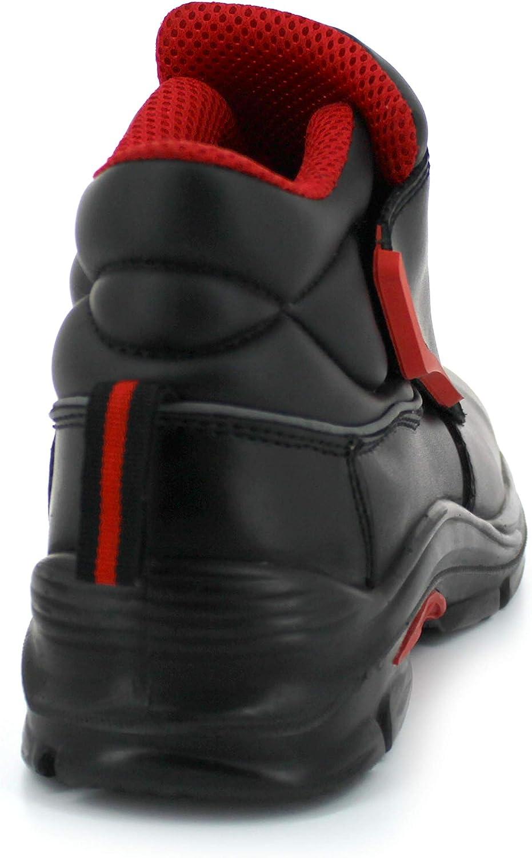 S3 SRC Botas de Trabajo para Hombre Impermeable Piel Negra Zapatos de Seguridad Foxter