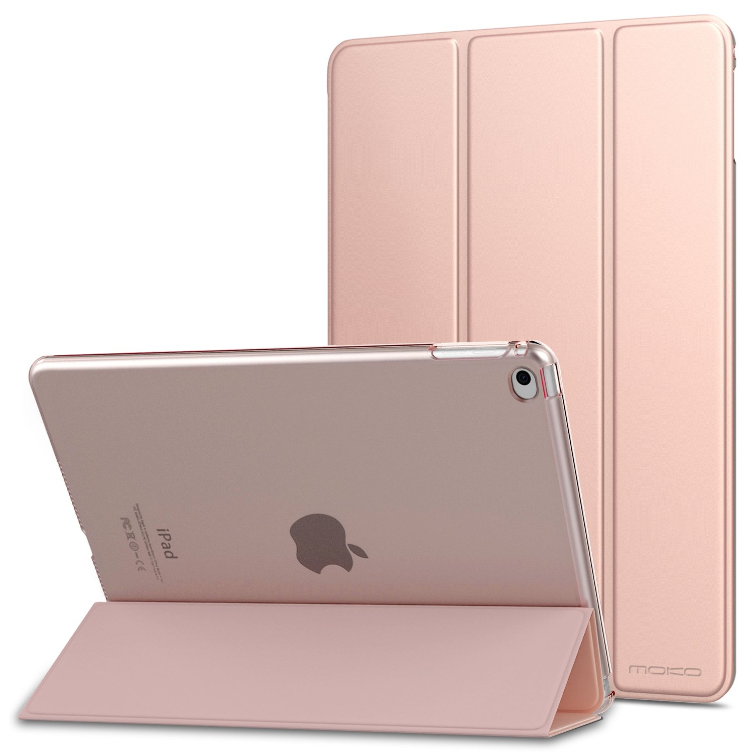 """MoKo iPad Air 2 Case - Slim Lightweight Smart-Shell Stand Cover with Translucent Frosted Back Protector for Apple iPad Air 2 9.7"""" Tablet, Rose Gold (with Auto Wake/Sleep, Not fit iPad Air)"""