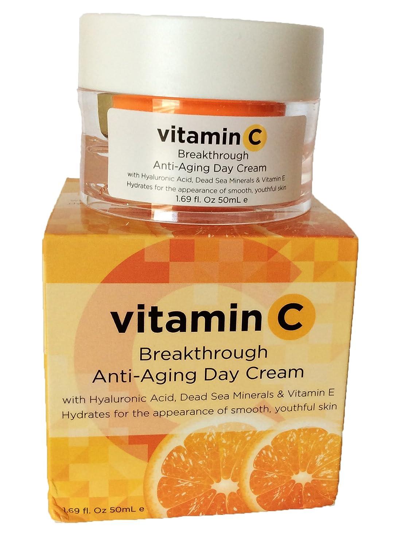 Amazon.com: Vitamin C Breakthrough Anti-Aging Day Cream with Hyaluronic Acid, Dead Sea Minerals & Vitamin E 1.69 fl oz: Beauty