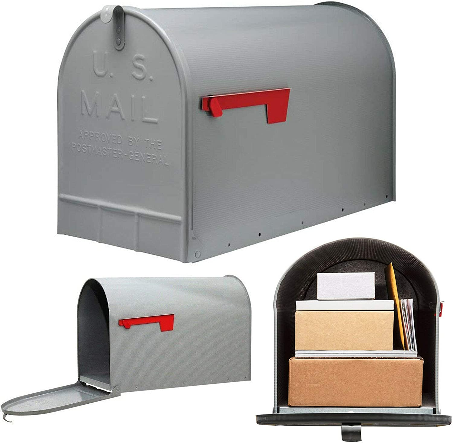 Post Mount Mailbox Extra Large Postal Storage Box Gray Galvanized Steel Heavy - mailboxes for Outside - Large Mailbox.