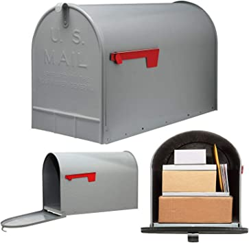 Postal Mailbox Post-Mount Double Door Front Rear Heavy Duty Steel Powder Black