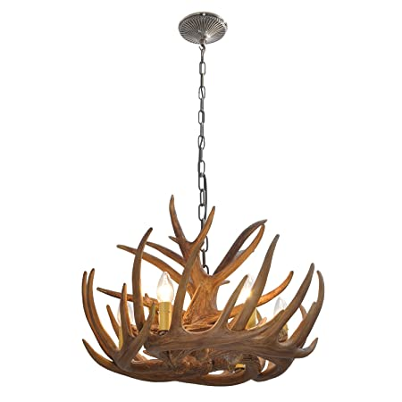 Homelava chandelier antler lighting pendant ceiling lighting with 40w 6 lights for dining room living room