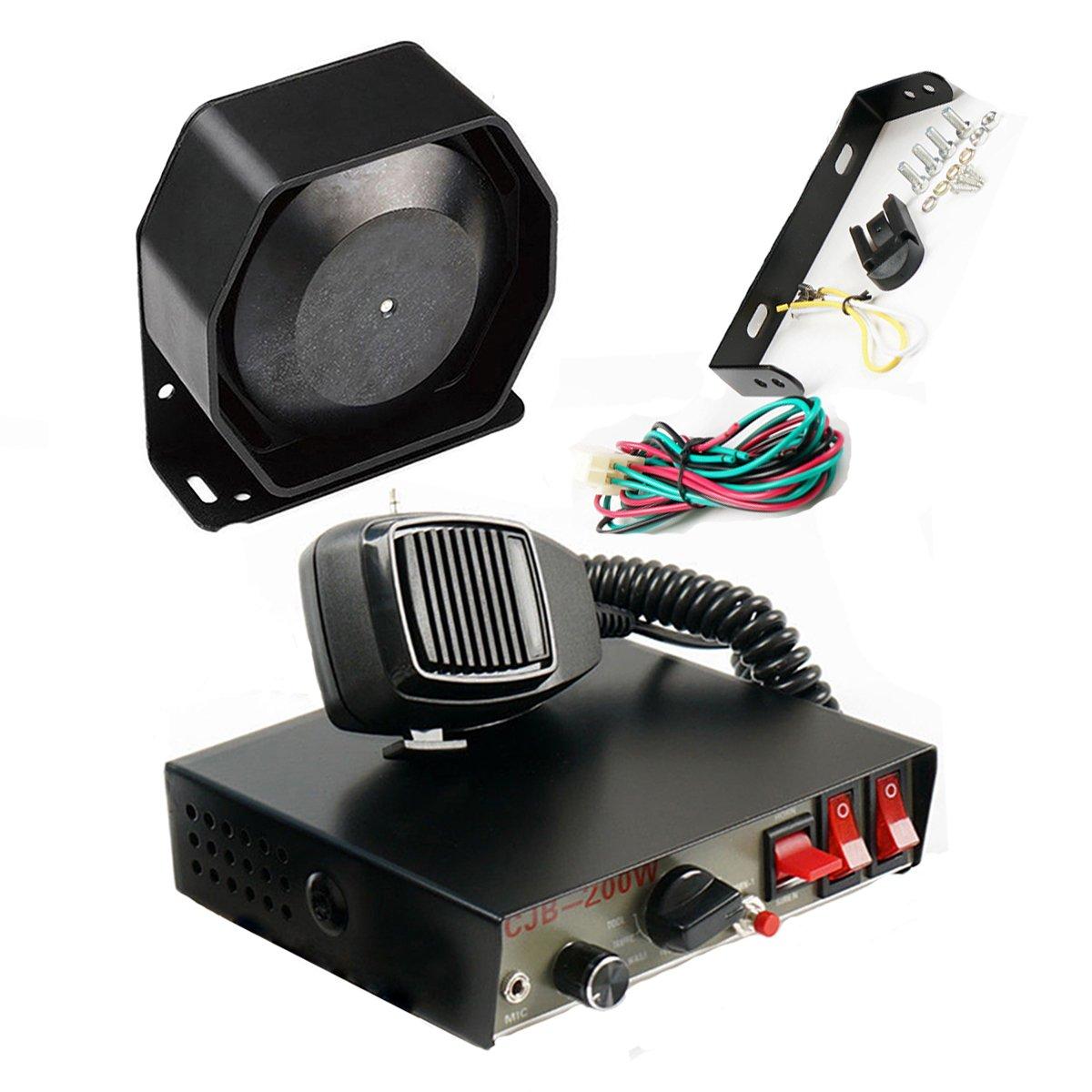 DENG 200W 8Sound Loud Car Warning Alarm Police Fire Siren Horn PA Speaker CJB by DENG (Image #1)