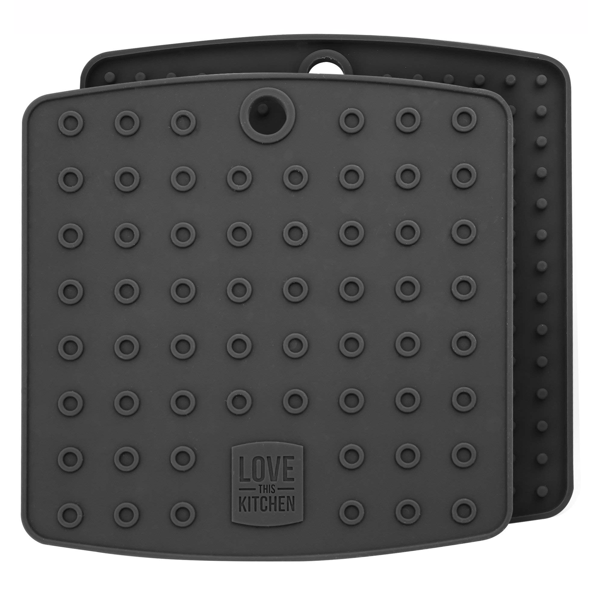 Premium Silicone Trivet Mats/Hot Pads, Pot Holders, Spoon Rest, Jar Opener & Coasters - Our 5 in 1 Kitchen Tool is Heat Resistant to 442 °F, Thick & Flexible (7'' x 7'', Dark Gray, 1 Pair) by Love This Kitchen (Image #1)