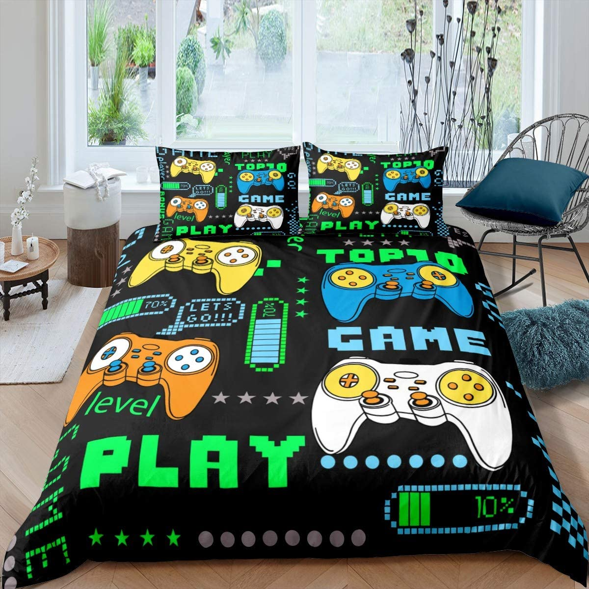 Gamepad Bedding Set for Kids Boys Girls Teens Twin Size Modern Gamer Duvet Cover,Video Game Comforter Cover Novelty Youth Game Action Buttons Decor Printed Bedspread Cover Green Yellow Black