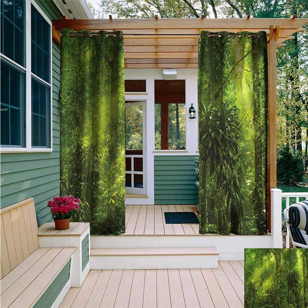 Beihai1Sun Sliding Door Curtain,Plant Tranquil Exotic Place,Waterproof Patio Door Panel,W84x72L