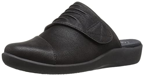 CLARKS Mujeres Zuecos, Dark Brown Synthetic Nubuck, Talla 9