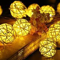 Samoleus 20 LED solaire chaîne lumières colorée / chaude boule blanche guirlande de chaîne s'allume idéal pour fête de mariage, Noël, décoration de la maison