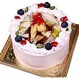 写真ケーキ 全面プリント シンプルタイプ イチゴの生クリーム (4号(12cm)2~3人前)