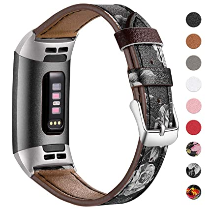 Maledan Compatible with Fitbit Charge 3 & Charge 3 SE Bands Women Men,  Genuine Leather Replacement Accessories Watch Band Strap, Large Small
