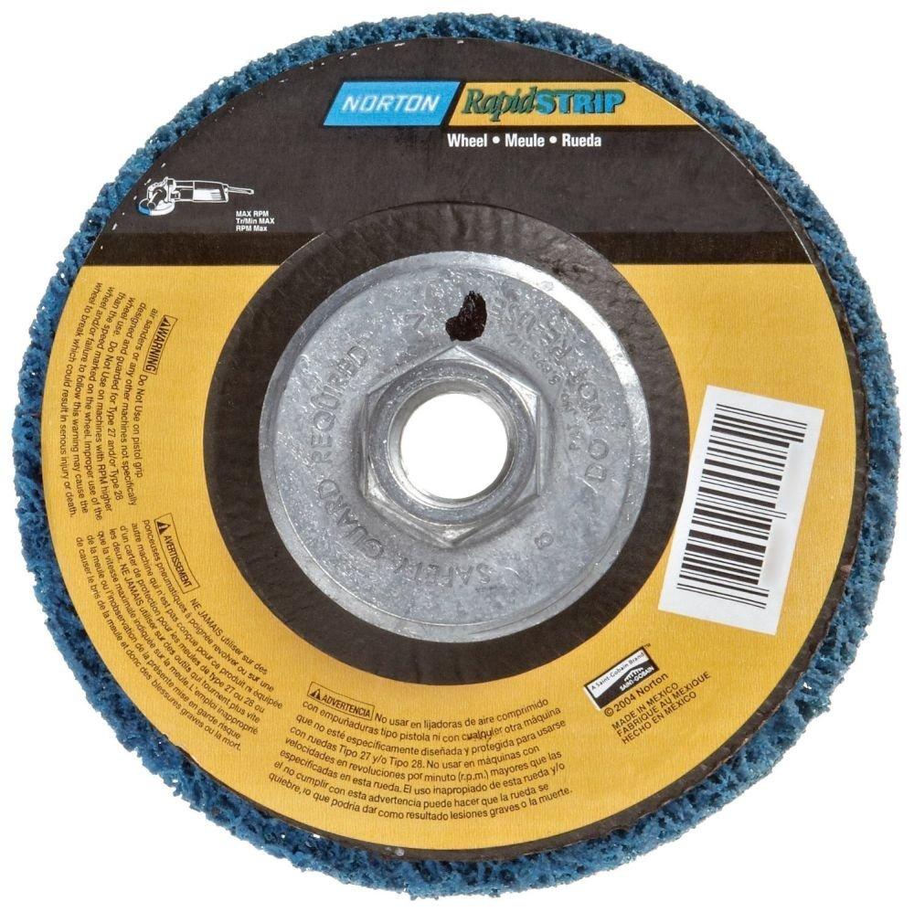 Norton 07660704015 6 Pack Rapid Strip Non-Woven Grinding Wheel, 4-1/2'' Diameter, 5/8''-11 Arbor Hub, Grit Coarse