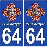 2 Stickers de plaque d'immatriculation auto 64 Pays Basque - Lauburu Drapé
