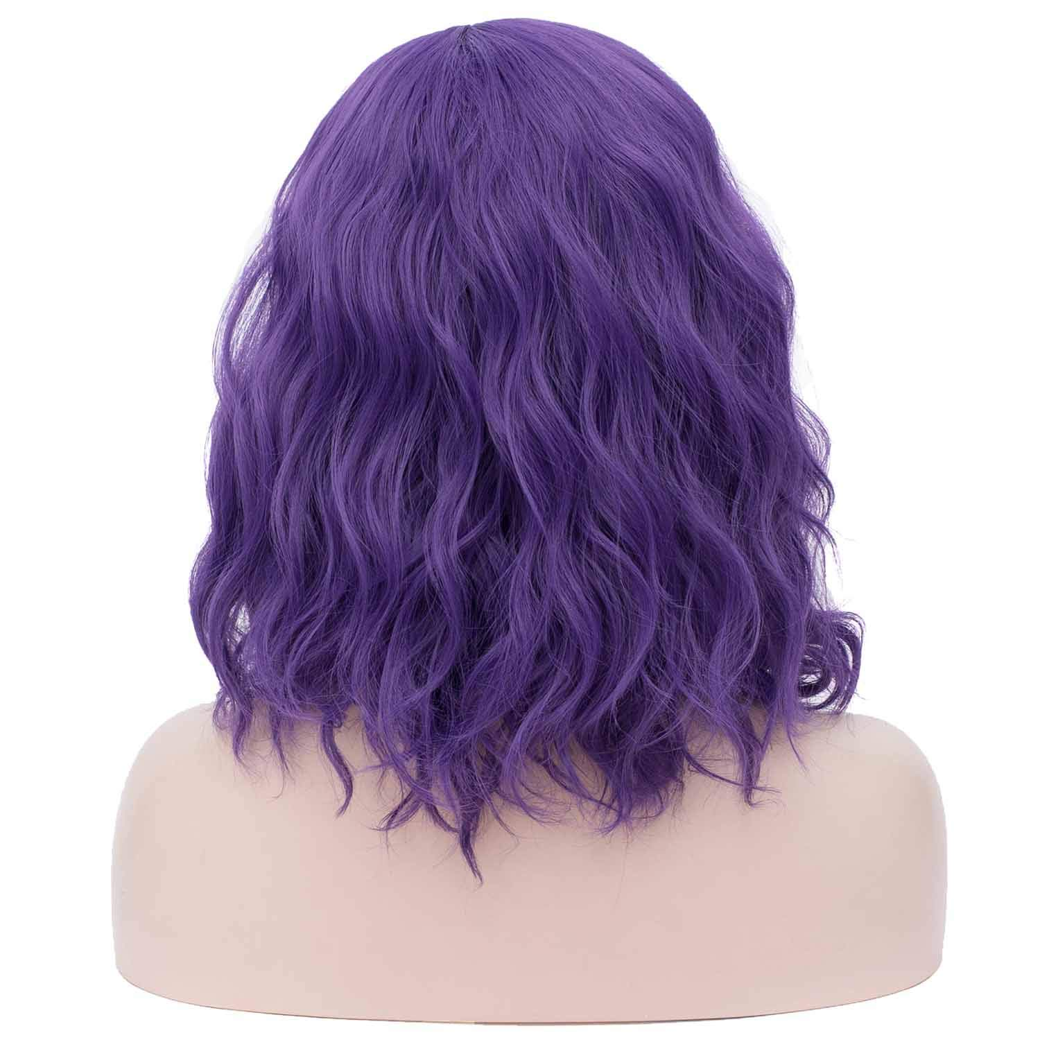 Mildiso Short Blue Wigs Curly Wavy Wig for Women Blue Synthetic Hair Cosplay Halloween Wigs with Wig Cap M004B