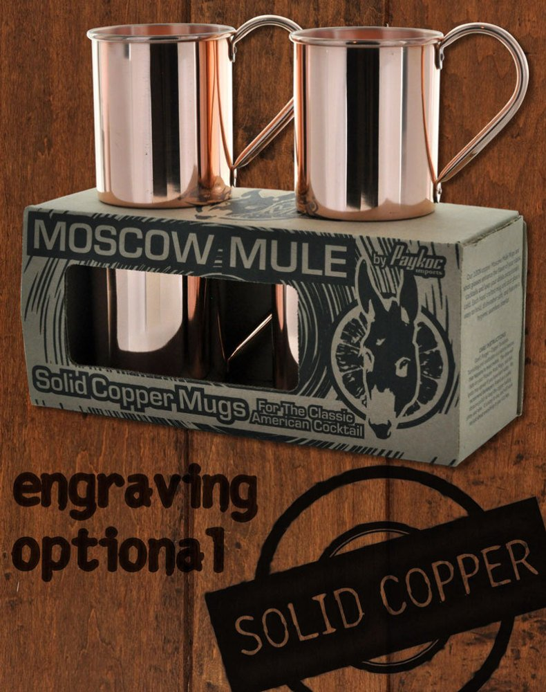 4 Pack - 18oz Solid Copper Moscow Mule Mugs