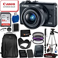 Canon EOS M100 Digital Camera with 15-45mm and 15PC Essential Bundle- Includes: SanDisk Ultra 64GB SD Card + 2X Replacement Batteries + Tripod+ Professional Backpack + More